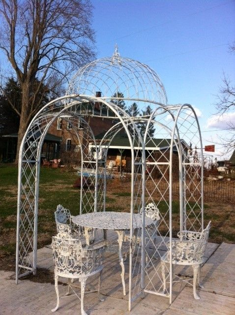4 Arches Wrought Iron Gazebo Metal Trellis Structure In