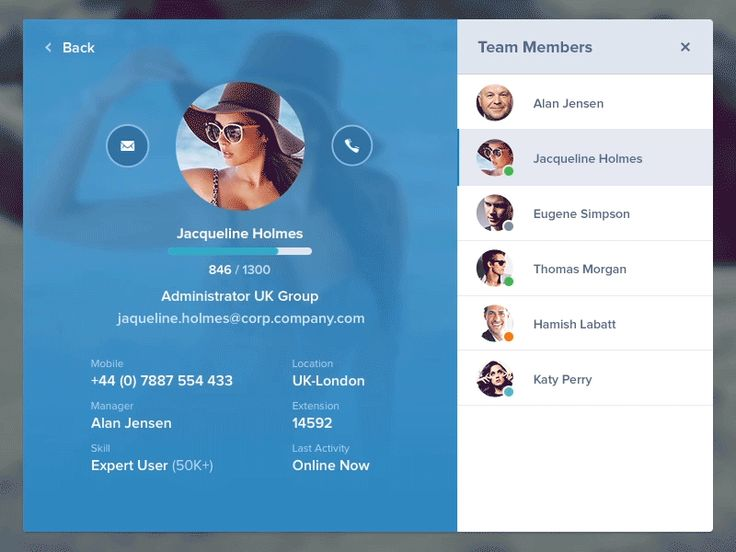 Team-messages // by Jan Losert TAGS: #ui #profile #call #animated