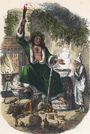 Ebenezer Scrooge (right) and the Ghost of Christmas Present, illustration from an edition of Charles Dickens's A Christmas Carol.
