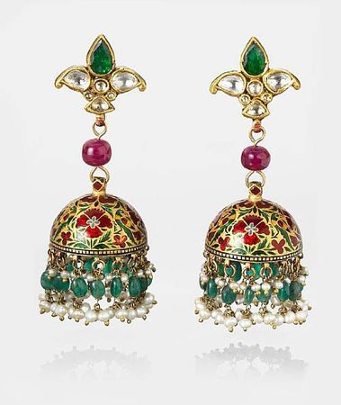 Gold champleves domed earrings, set in diamonds, emeralds, rubies & pearls. Each gold dome is carved, filled with enamel & fired in floral motifs, then suspended from a ruby bead, topped by a trefoil set with diamonds & emeralds. India, 20th Century.