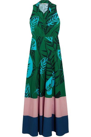 Borgo De Nor - Paloma Printed Cotton-gabardine Maxi Dress - Green - UK
