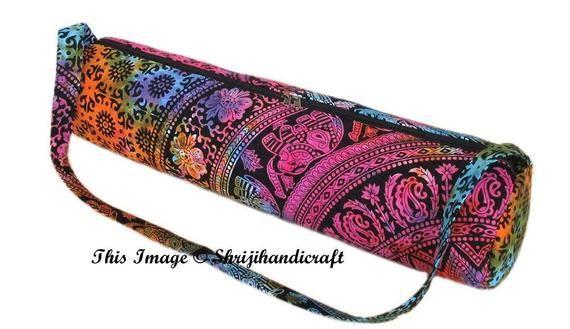 Details about  /Indian Cotton Gym Yoga Tote Bag Adjustable Shoulder Carry Strap Exercise Mandala