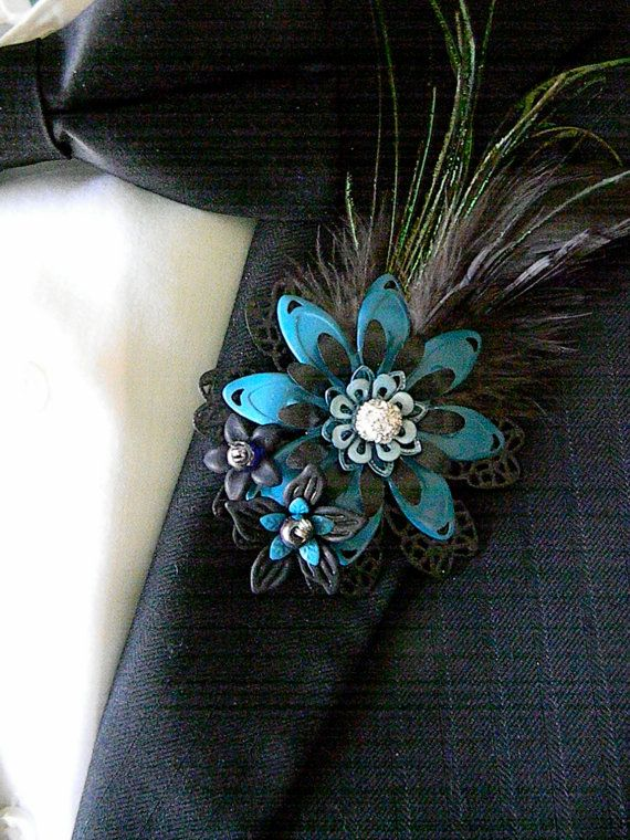 Metal Flower Boutonnieres Brooches Corsages Black Turquoise Peacock Feathers Coque Tail