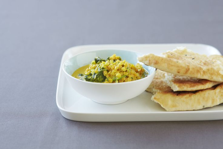 Spinach Dhal with Coconut Milk and Red Lentils