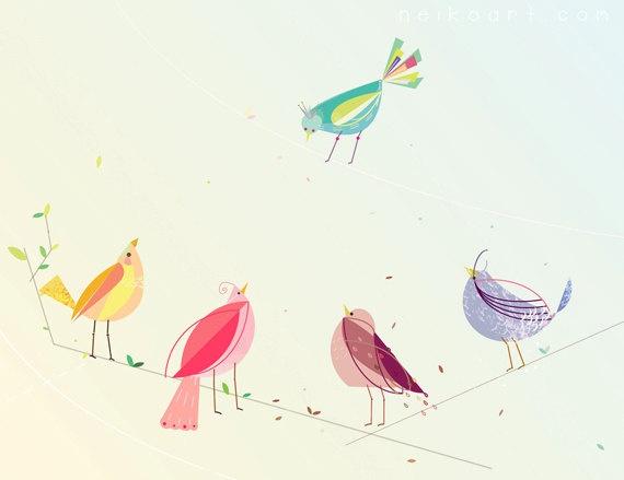 seasonal birds illustration  by neikoart.com