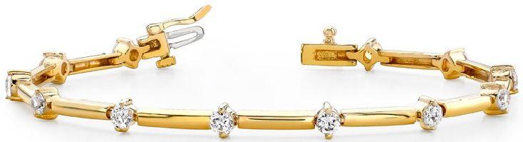 Bracelet Diamants - 3.00 Carat Diamants - Or Jaune 14 Carats