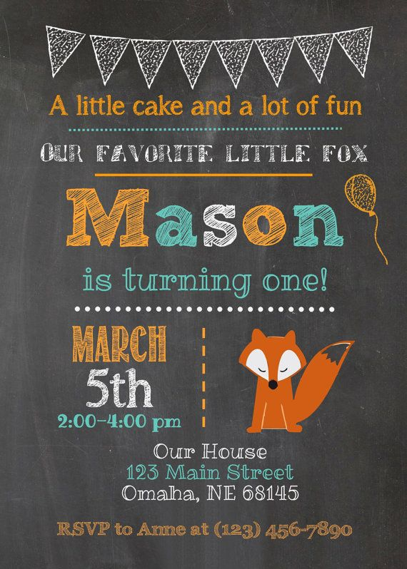 Fox Woodland Chalkboard Birthday Invitation by LoveBugPrintShop