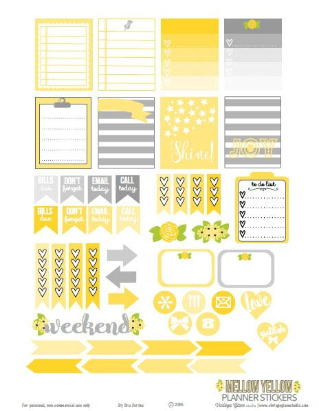 FREE Mellow Yellow Planner Stickers – Free Printable Download by Vintage Glam Studio