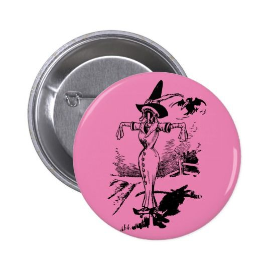 Creepy Vintage Scarecrow Halloween Witch Woman 2 Inch Round Button