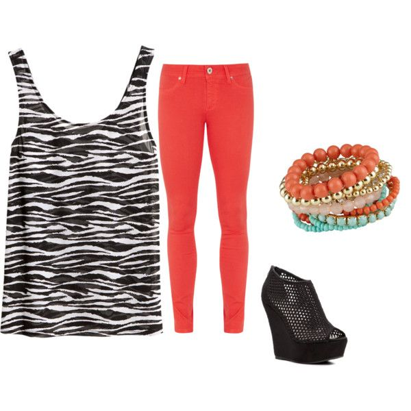 Coral Jeans - Outfit #1 by sasha-washi on Polyvore