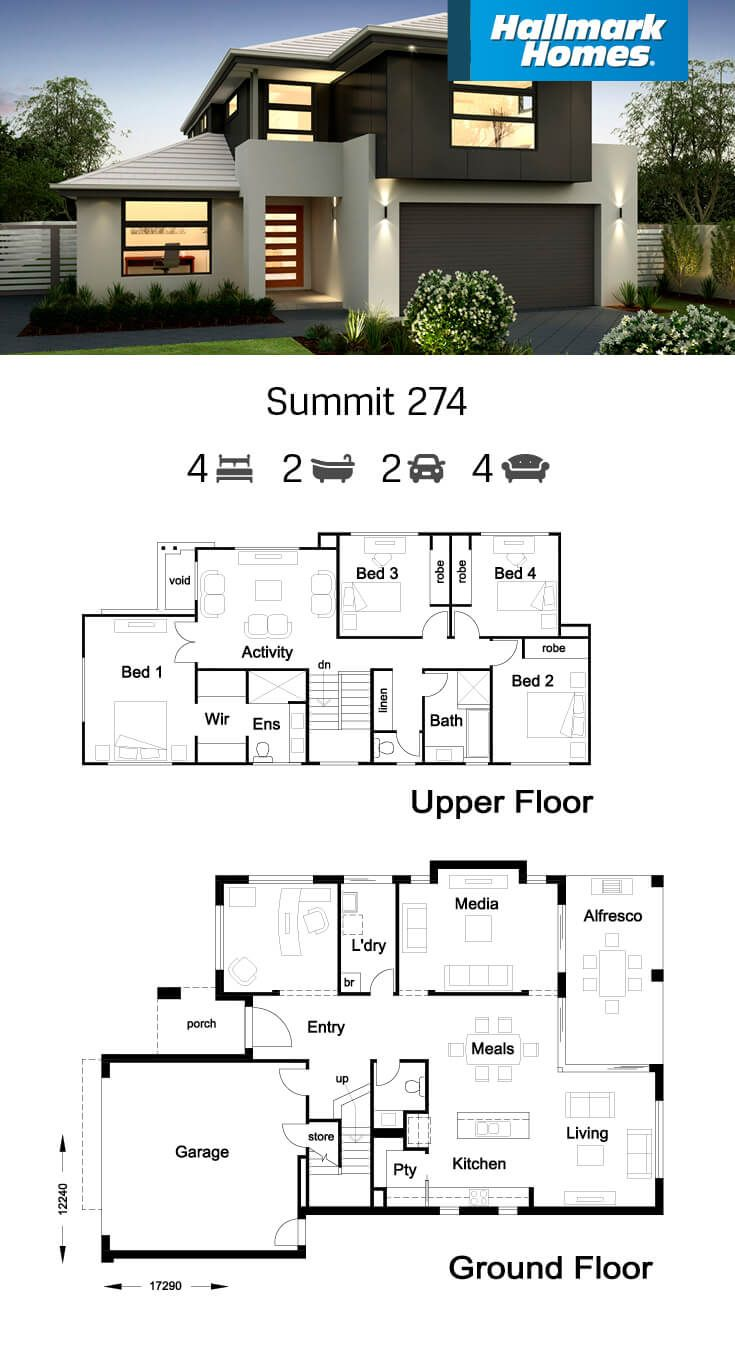 The Summit 274 Is Cleverly Designed To Include A Separate Study And Media Room In Addition To The Large Open House Plans Home Design Floor Plans House Plans