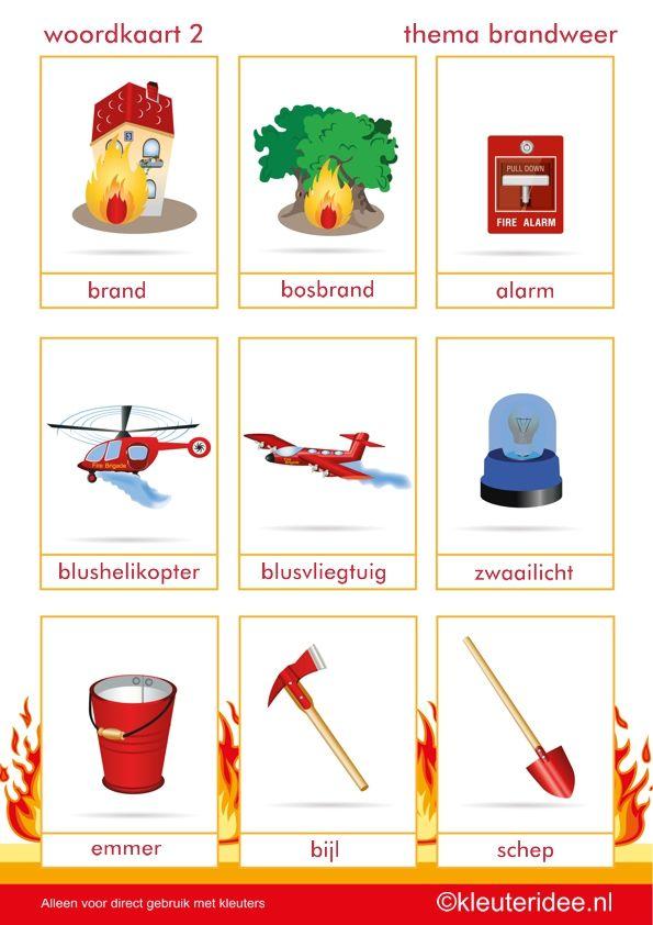 Thema Brandweer: woordkaarten 2, thema brandweer, door juf Petra van kleuteridee.