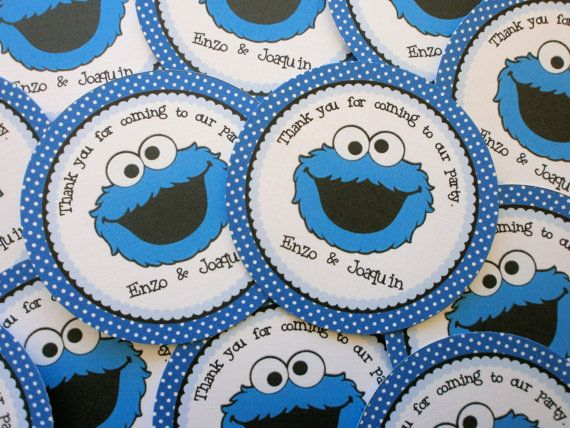 Cookie Monster Baby Shower Cake. See More. Set Of 12 Personalized Favor  Tags  Blue Monster  Blue  Dots  Stripes