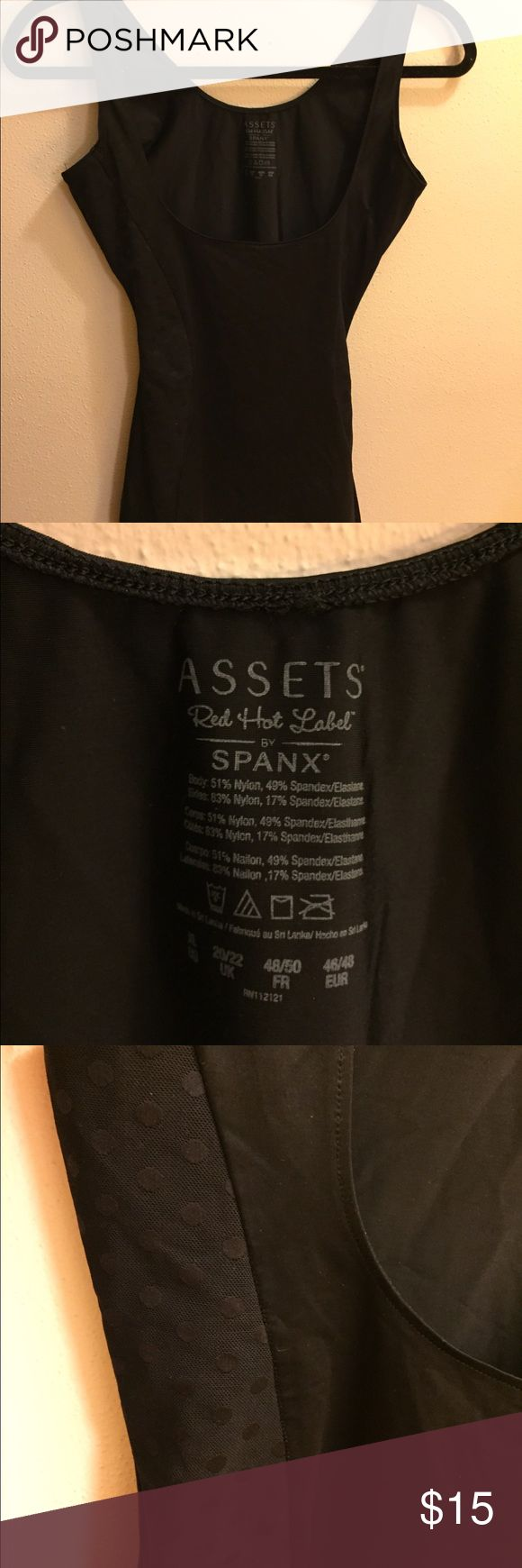 Assets by Spanx Red Hot Label open bust tank Assets by Spanx Red Hot Label open bust tank. Size large. Has adorable polka for detailing on the sides. In perfect condition. Comes from a smoke free home. SPANX Intimates & Sleepwear Shapewear