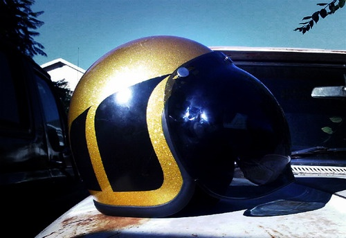 Old school motorcycle helmet = + Gold glitter striping and a black bubble visor.  Lanthorn: chrismejia: My bubble visor Fulmer helmet for @ Lanthorn, Sorry for the shitty picture (camera phone).  I Seem To Have misplaced my camera.  EDIT: OH!  and best for my fellow Tumblr and 'United Oildripper' friend, MTRDVSN, follow 'em Camera quality is inexcusable, are you fucking dick sa situation.  That's awesome man, really dig the paint and the bubble definitely looks rad.  Yeah whats with the…