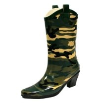 Green Camouflage Rubber Cowboy Rain Boots  <3 <3