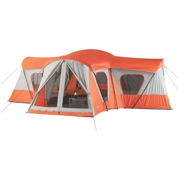 Base Camp Tent Ozark Trail 14 Person Cabin Tent Ventilation 12 Windows Orange