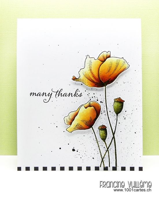Card by Francine (www.1001cartes.ch) karte, carte, carterie, cardmaking, cardmaker,  crafts, papercrafts, handmade, diy, stamping, #1001cartes, penny black stamps, many thanks, flowers, blooming garden, happy snippets