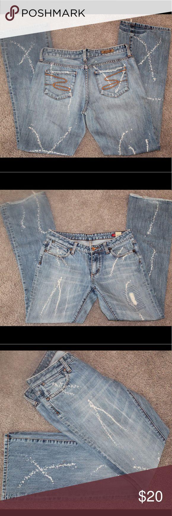 Seven jeans Bleach splatterd seven jeans with flare/boot leg Seven7 Jeans Boot Cut