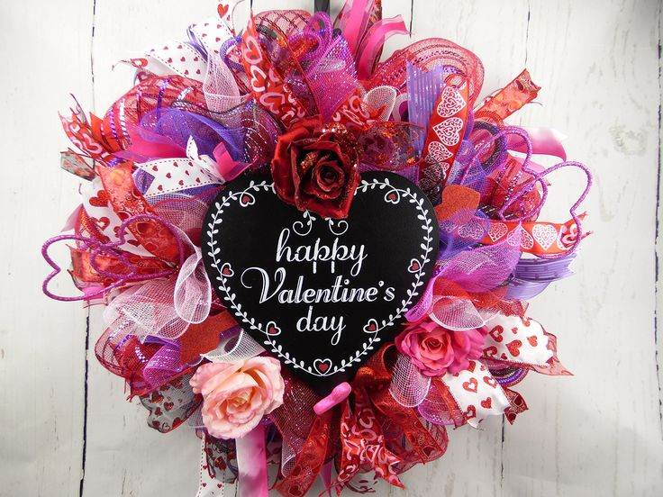 Valentines Day Wreath, Purple Pink and Red Wreath, Lovers Wreath, Happy Valentines Day Sign, Roses Wreath, Heart Wreath, Cupid Wreath