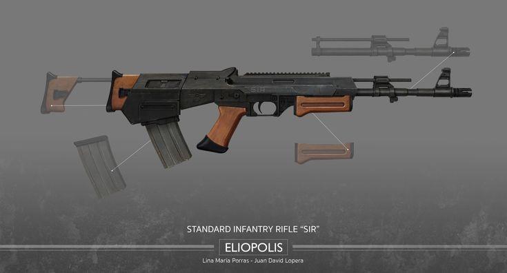 Eliopolis - Standard Infantry Rifle (SIR) - Regular Kit #Eliopolis #WWZ #worldwarz #props #conceptart #weapondesign #weapon #art #rifle