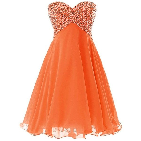 Dressystar Beaded Sweetheart Prom Party Gown Short Bridesmaid Dress... ($54) ❤ liked on Polyvore featuring dresses, beaded cocktail dress, cocktail prom dress, prom dresses, orange bridesmaid dresses and short prom dresses