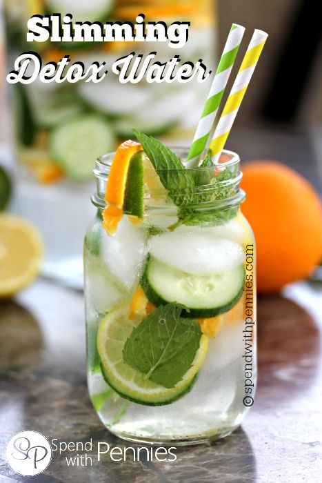 Slimming Detox Water!  This is delicious and refreshing...  and sure makes it easy to increase your water intake!