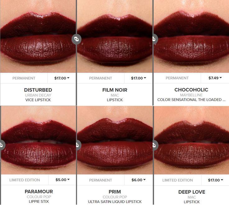 Urban Decay Disturbed = Maybelline Chocoholic = Colourpop Prim & Paramour = MAC Film Noir, Antique Velvet, Deep Love lipstick dupe