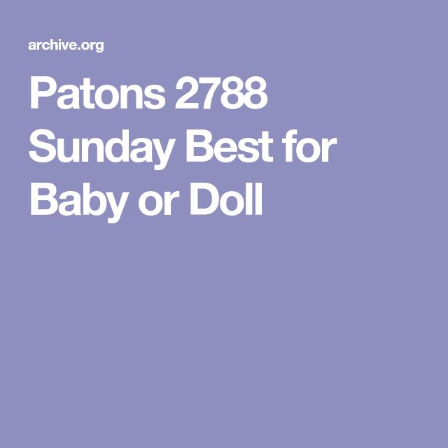 Patons 2788 Sunday Best for Baby or Doll