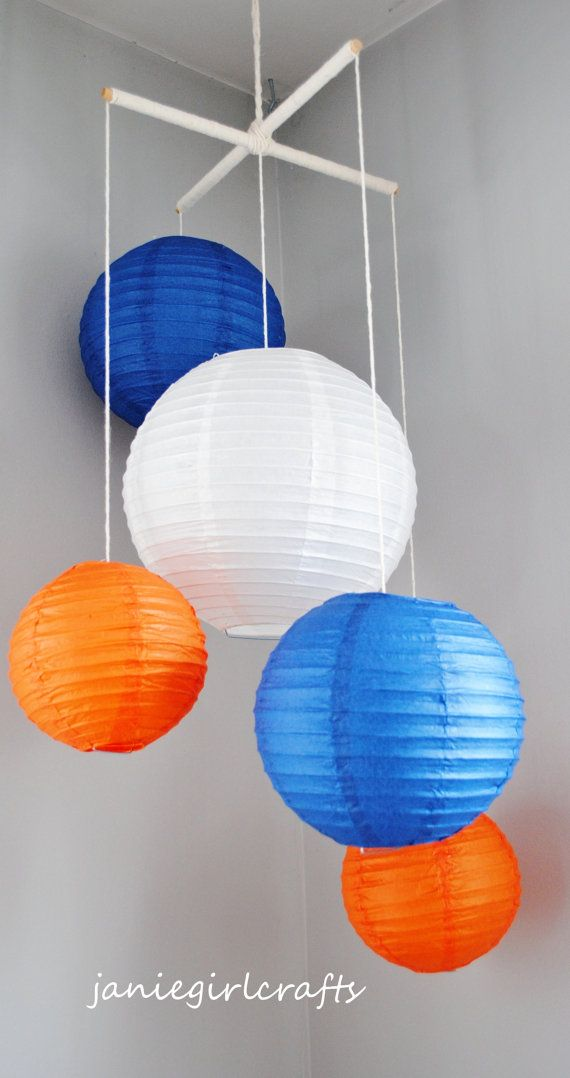 Navy and Orange Paper Lantern Mobile by janiegirlcrafts on Etsy