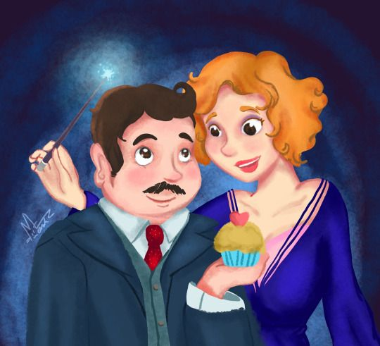 """Jacob Kowalski and Queenie Goldstein from the movie """"Fantastic Beasts and Where to Find Them"""" by koneko ilustra"""