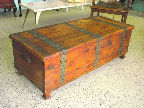 Larkin solid cedar chest storage trunk coffee table rustic metal banding accents by larkin co Metal chest coffee table
