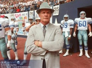 Legendary Dallas Cowboys coach Tom Landry really loved wearing his fedora on game day.  Best coach ever!!