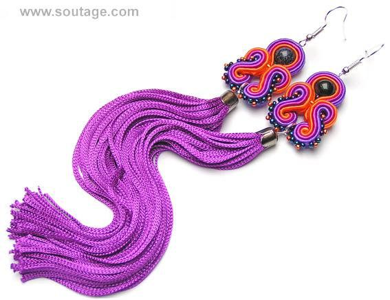 Amethyst Dragon - very long, light, thin soutache earrings with blue sand stones. Earrings with their silky tassel can be wear for all occasions: wedding, evening party, date, everyday(workday) Using materials: glass beads, soutache, viscose, coral stones. Length of earring: 18 cm. Width