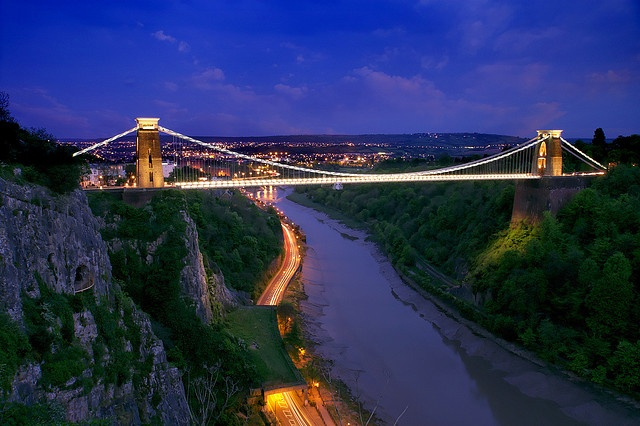 Clifton Suspension Bridge, Bristol, spanning the Avon Gorge.  Victorian engineering, designed by 24 year old Isambard Kingdom Brunel
