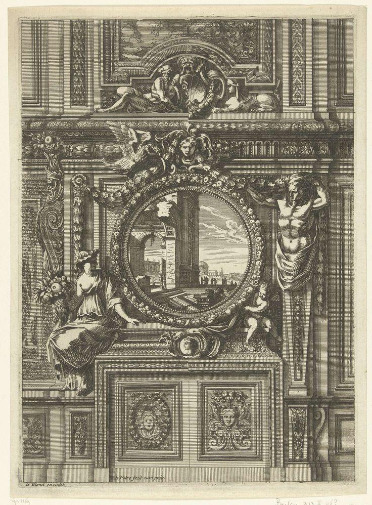 Jean Lepautre | Onderboezem met rond schilderij, Jean Lepautre, c. 1660 - c. 1666 | De onderboezem is afgesloten door panelen met maskers en staat tegen een muur met houten lambrisering. Uit serie van 6 bladen.