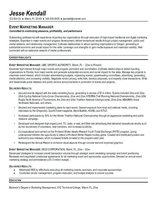 Resume Free Samples Marketing Director Resume Example Event Marketing Manager Resume Free Samp Event Planner Resume Professional Resume Samples Event Marketing