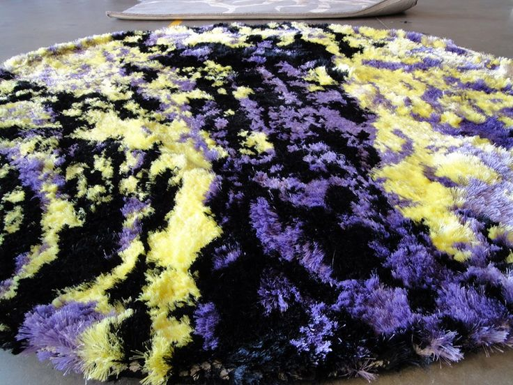 This custom 'paint effect' shagpile rug looks fabulous - a great way to introduce colour and texture into your room! #TheRugCollection