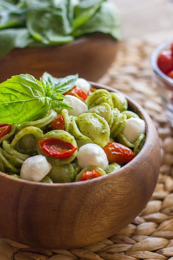 Orecchiette With Pesto and Oven Roasted Tomatoes - Lovely Little Kitchen