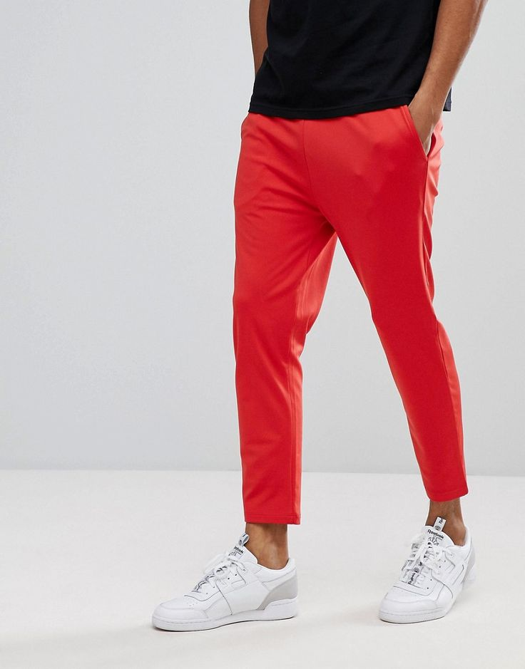 ASOS Skinny Cropped Jogger in Poly Tricot In Red - Red