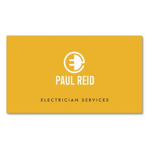 Modern Electrician Logo Yellow Business Card. Perfect for contractors, builders, electricians, plumbers, painters and more. Fully customizable and ready to order. customizable business cards | cheap business cards | cool business cards | Business card templates | unique business cards
