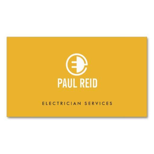 Modern electrician logo yellow business card logos for Electrician business cards templates free