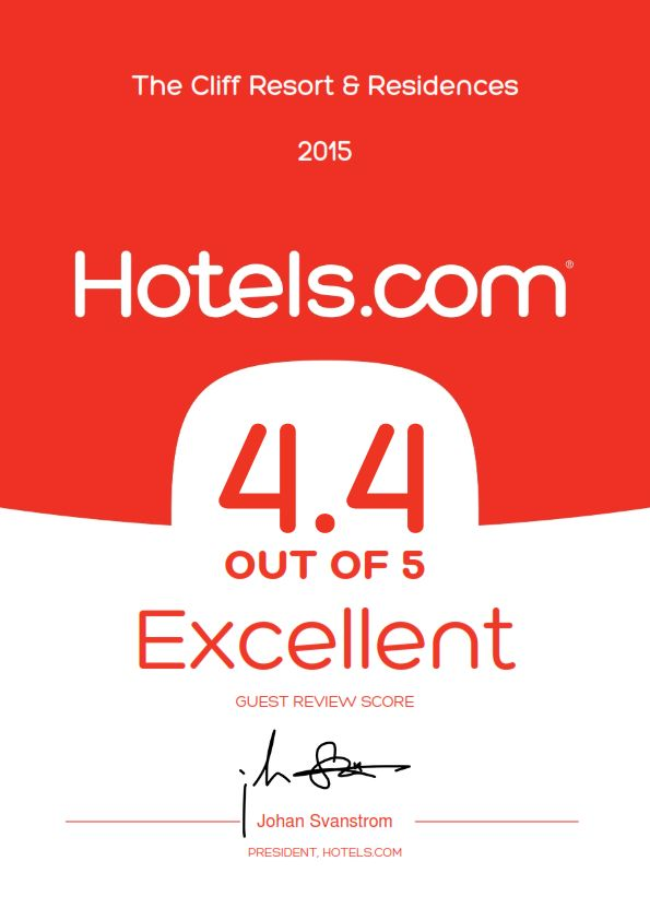 The Cliff Resort & Residences is honored to receive another prestigious award from Hotels.com - EXCELLENT GUEST REVIEW SCORE 2015 by our guests The Cliff Resort & Residences lại vinh dự nhận được giải thưởng uy tín từ hotels.com - EXCELLENT GUEST REVIEW SCORE 2015 nhờ sự bình chọn từ các du khách. ‪#‎excellent‬ ‪#‎thecliffresort‬ ‪#‎award‬ ‪#‎hotelsdotcom‬ ‪#‎muine‬