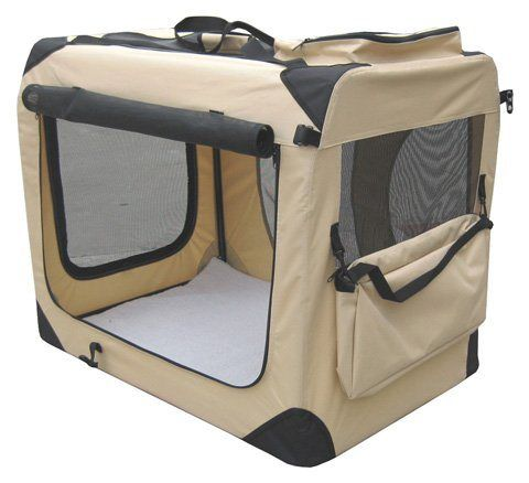 "EliteField Beige 24"" 3-Door Soft Dog Crate, 24"" Long x 18"" Wide x 21"" High - http://www.thepuppy.org/elitefield-beige-24-3-door-soft-dog-crate-24-long-x-18-wide-x-21-high/"