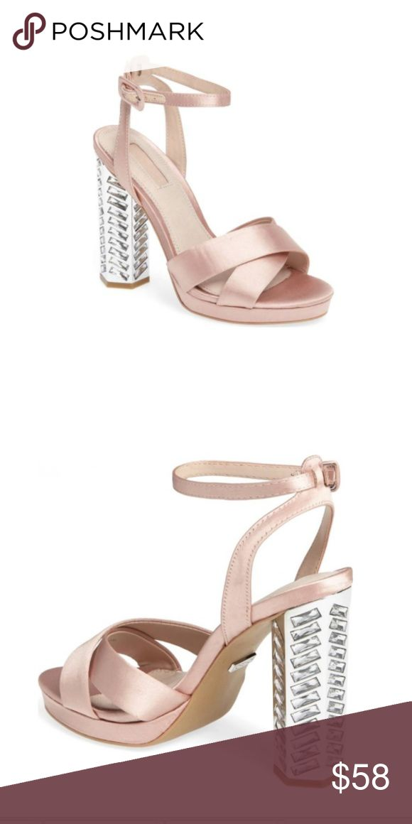 "TopShop Luna Embellished Blush Heel Sandal 8.5 Details & Care Satin straps crisscrossing at the toe and a slim ankle strap define this platform standout sandal lifted by a crystal-embellished statement heel. 4 3/4"" heel; 1"" platform (size 39) Adjustable ankle strap with buckle closure Textile upper/leather and textile lining/synthetic sole Topshop Shoes Sandals"