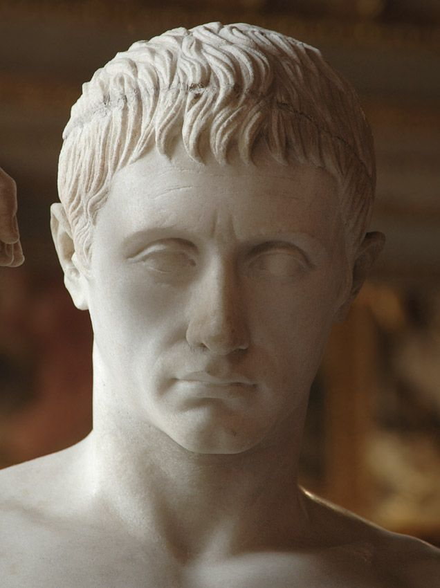 Marcus Claudius Marcellus as Mercury (Hermes), son of Octavia the Younger, nephew and son-in-law of Augustus (first husband of Julia the Elder) - close-up, Graeco-Roman statue (marble) (posthumous) by Cleomenes of Athens, 1st century BC, (Musée du Louvre, Paris). [by S. Sosnovskiy]