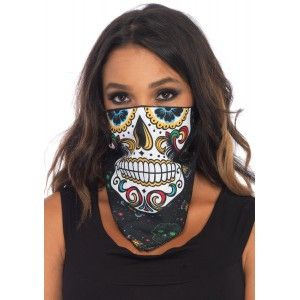 Sugar Skull Bandana Costume Mask Our Price $4.50  Printed full color bandana mask is an easy to wear costume based on a sugar skull  One size fits most adults. Other items shown sold separately.  #cosplay #costumes #halloween
