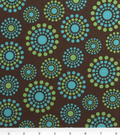 Quilter S Showcase Fabric Dot Circles Teal Green On Brown