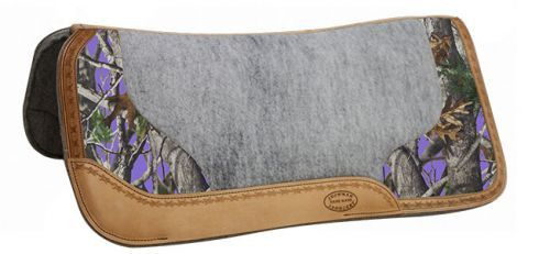 """Rugged, Camo Accented Saddle Pads - Just the right amount of camo! Showman ® 32"""" x 31"""" Real Oak Camo contoured felt bottom saddle pad with filigree print and Argentina cow leather trim. This pad featu"""