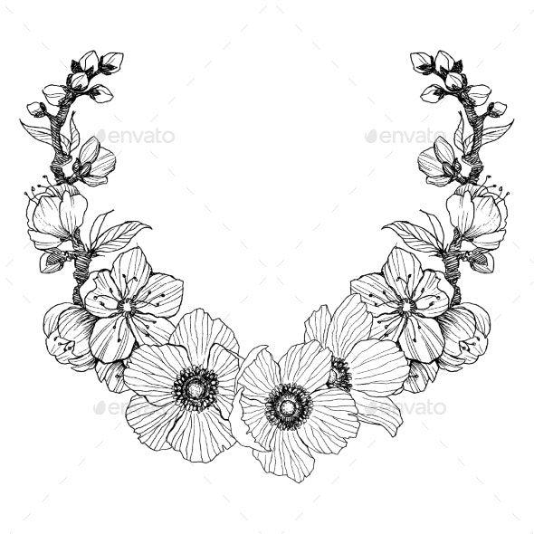 Vintage Frame Border Monogram Floral Ornament In 2020 Vintage Frames Floral Border Design Floral Wreath Watercolor